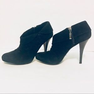 GUESS Black Leather High Heel Booties